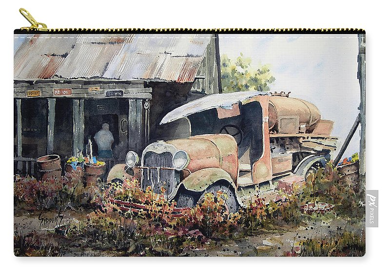Truck Carry-all Pouch featuring the painting Jeromes Tank Truck by Sam Sidders