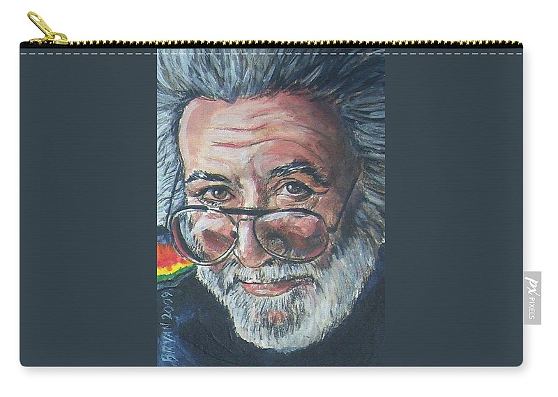 Jerry Garcia Carry-all Pouch featuring the painting Jerry Garcia by Bryan Bustard