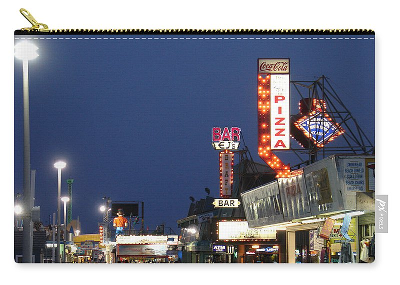 Landscape Carry-all Pouch featuring the photograph Jersey Shore Board Walk by Steve Karol