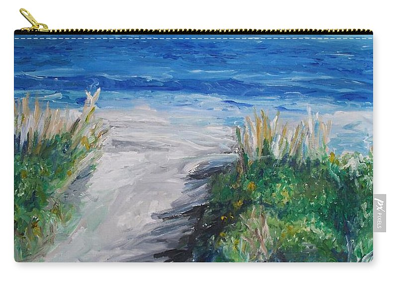 Jersey Shore Carry-all Pouch featuring the painting Jersey Shore Dunes by Eric Schiabor