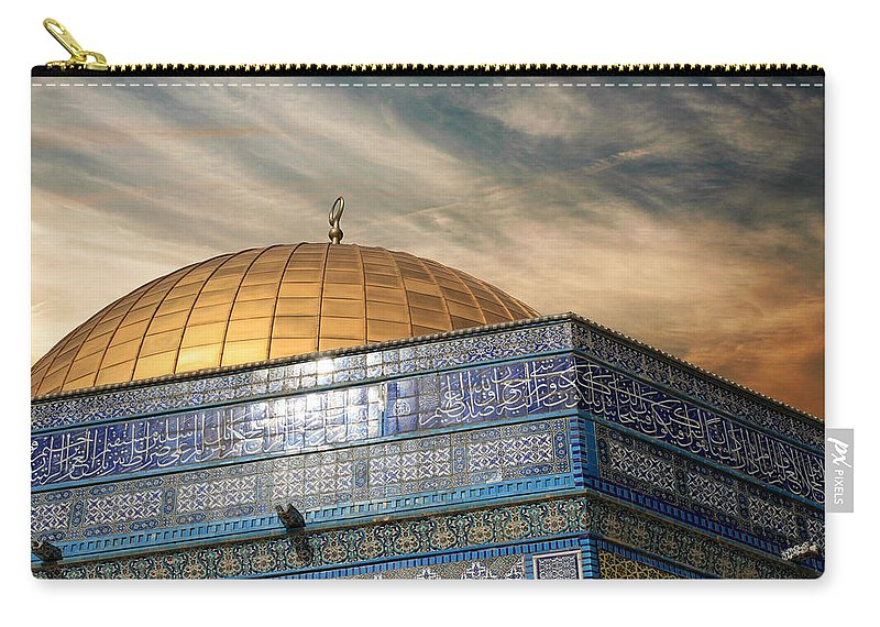 Dome Carry-all Pouch featuring the photograph Jerusalem - Dome Of The Rock Sky by Munir Alawi