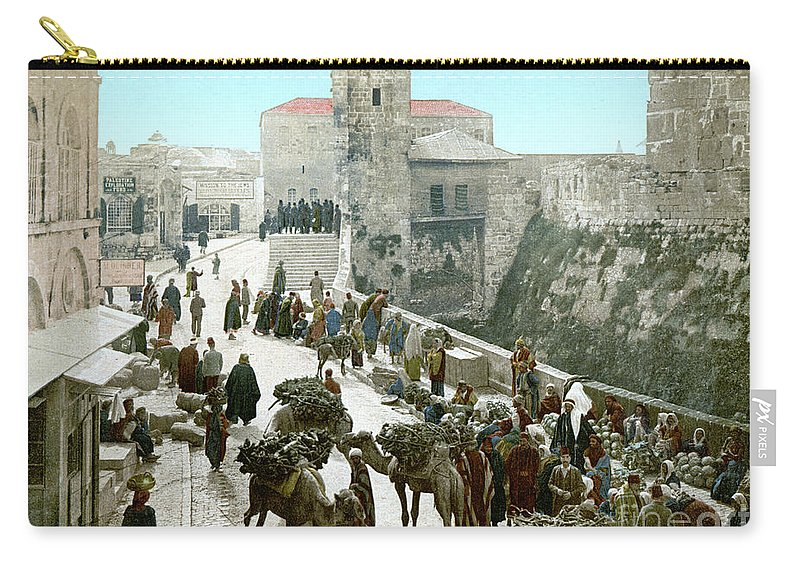 1900 Carry-all Pouch featuring the photograph Jerusalem: Bazaar, C1900 by Granger