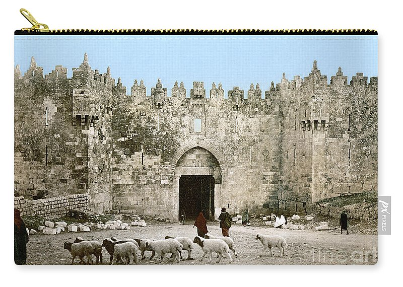 1900 Carry-all Pouch featuring the photograph Jerusalem: Damascus Gate by Granger