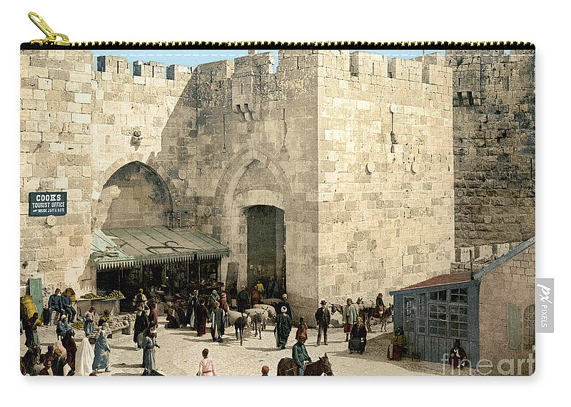 1900 Carry-all Pouch featuring the photograph Jerusalem: Jaffa Gate by Granger