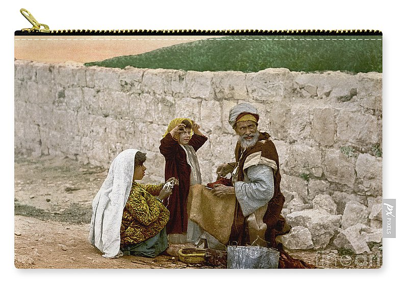 1900 Carry-all Pouch featuring the photograph Jerusalem Shoemaker, C1900 by Granger