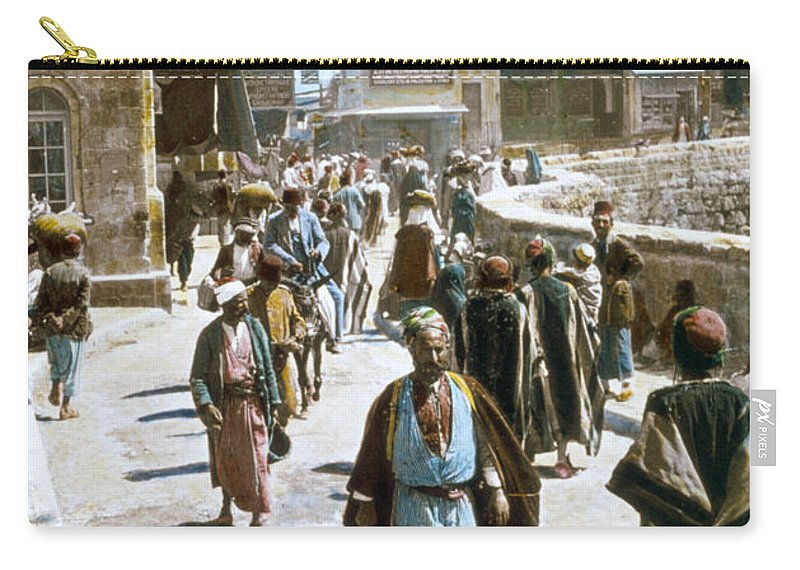 1950s Carry-all Pouch featuring the photograph Jerusalem Street Scene by Granger