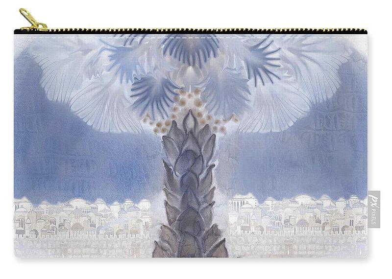 Jerusalem Carry-all Pouch featuring the digital art Jerusalem- Tryptich Part 2 by Sandrine Kespi