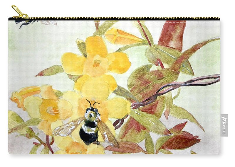 Jasmine Carry-all Pouch featuring the painting Jessamine Bee Mine by Jean Blackmer