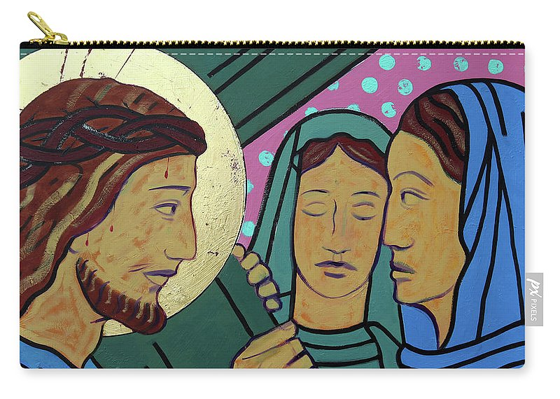 Jesus Carry-all Pouch featuring the painting Jesus And The Women Of Jerusalem by Sara Hayward