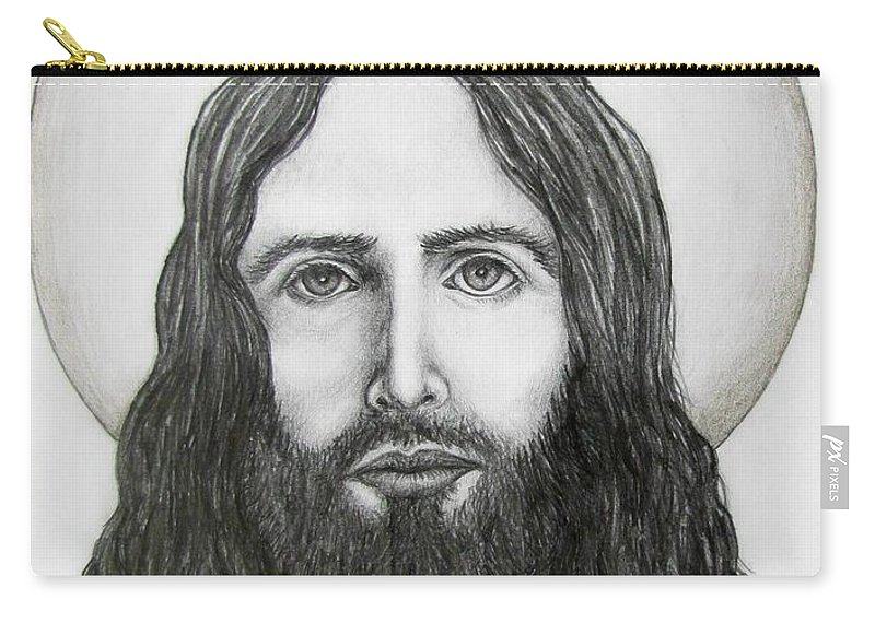 Michael Carry-all Pouch featuring the drawing Jesus Christ by Michael TMAD Finney