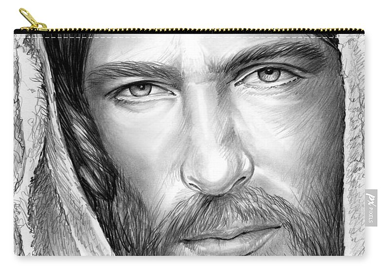 Jesus Carry-all Pouch featuring the drawing Jesus Face by Greg Joens