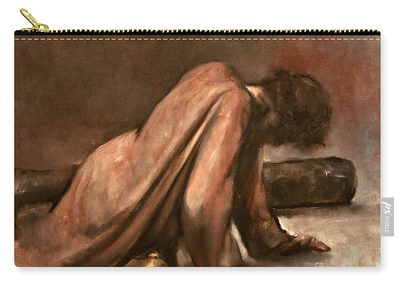 Jesus Carry-all Pouch featuring the painting Jesus Falls The First Time by Dan Radi