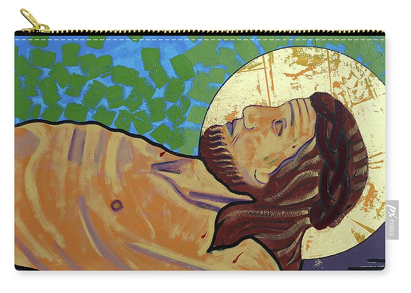 Son Of God Carry-all Pouch featuring the painting Jesus Is Nailed To The Cross by Sara Hayward