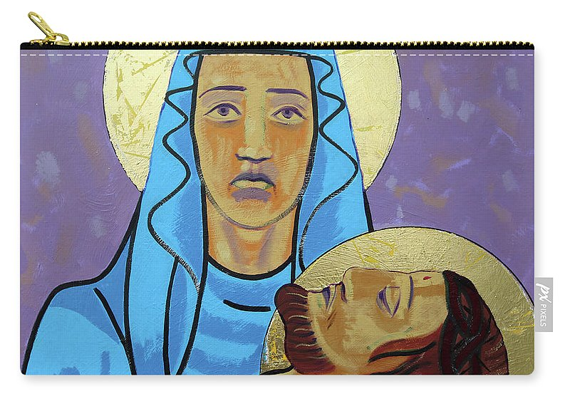 Jesus Carry-all Pouch featuring the painting Jesus Is Taken Down From The Cross by Sara Hayward