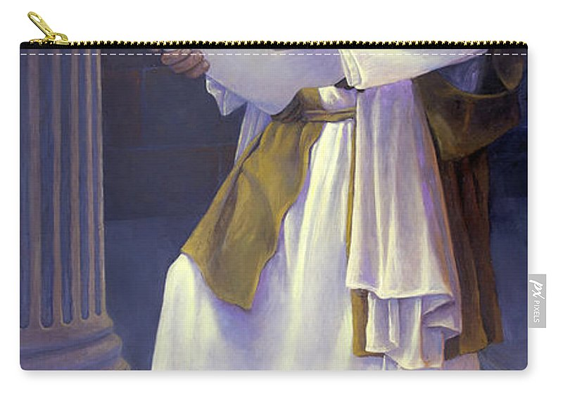 Jesus Carry-all Pouch featuring the painting Jesus Reads by Rob Corsetti