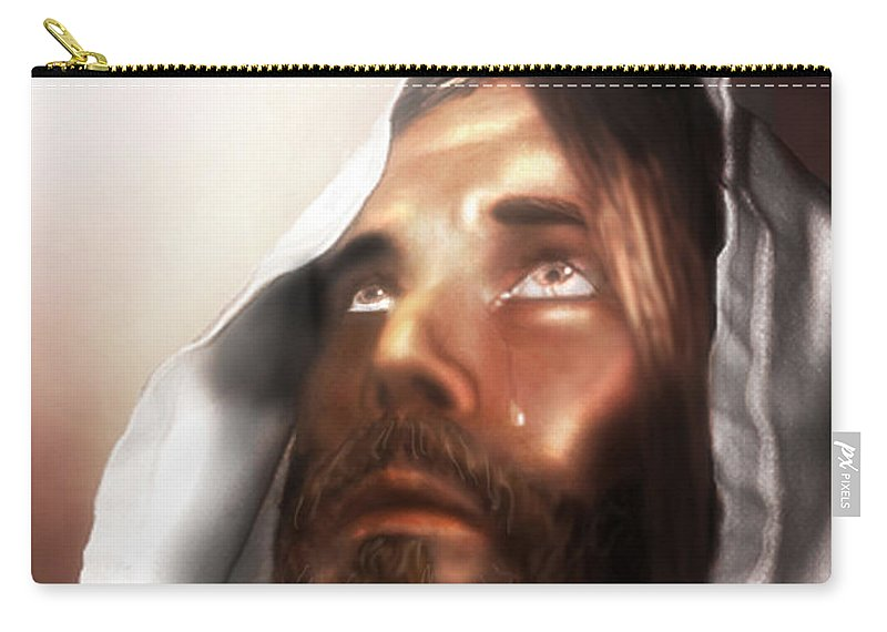 Jesus Carry-all Pouch featuring the mixed media Jesus Wept by Mark Spears