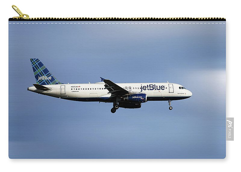 Jetblue Carry-all Pouch featuring the mixed media Jetblue Airways Airbus A320-232 by Smart Aviation