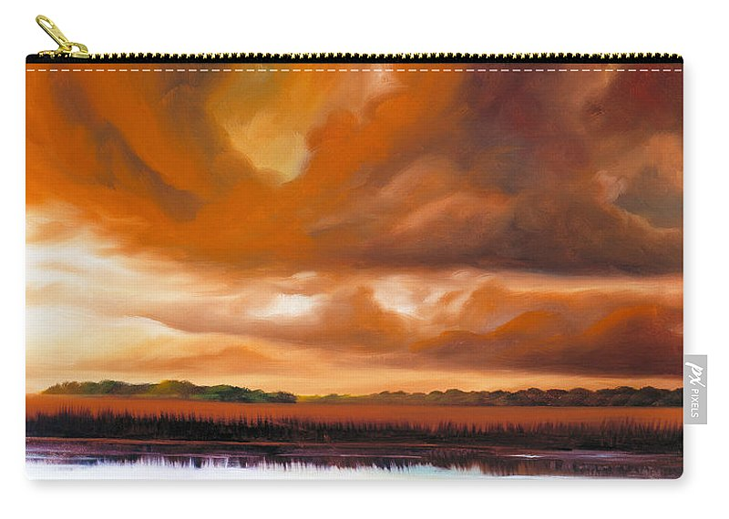 Clouds Carry-all Pouch featuring the painting Jetties On The Shore by James Christopher Hill