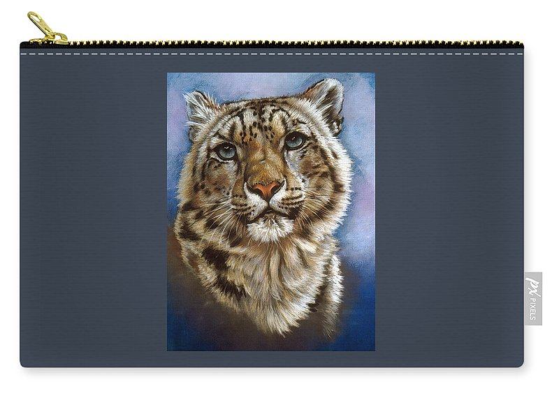 Snow Leopard Carry-all Pouch featuring the pastel Jewel by Barbara Keith