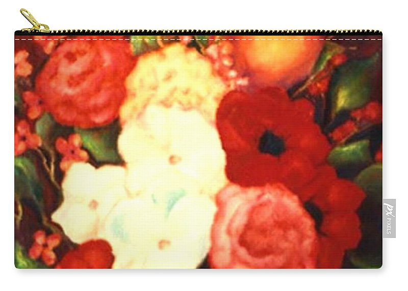 Flowers Carry-all Pouch featuring the painting Jewel Flowers by Jordana Sands
