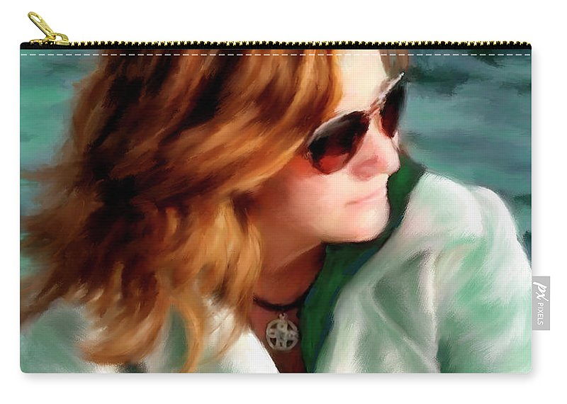 Red Head Carry-all Pouch featuring the painting Jewel Of Contemplation by Colleen Taylor