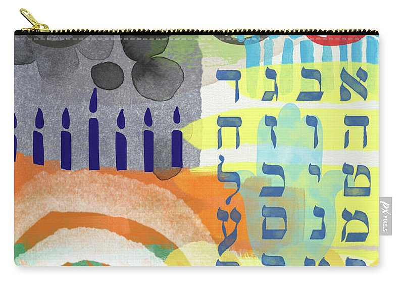 Jewish Art Carry-all Pouch featuring the mixed media Jewish Life 1- Art By Linda Woods by Linda Woods