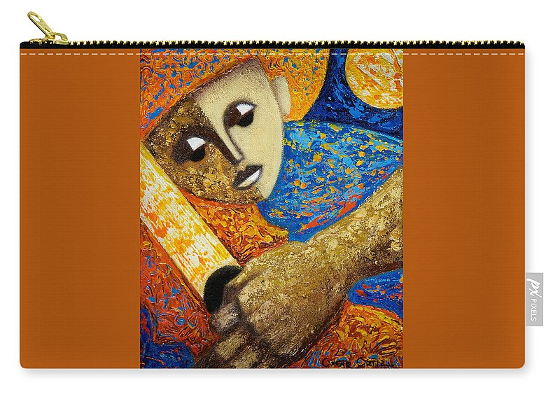 Color Carry-all Pouch featuring the painting Jibaro Y Sol by Oscar Ortiz