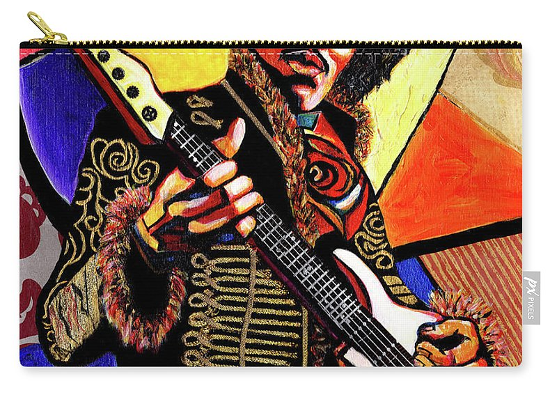 Everett Spruill Carry-all Pouch featuring the mixed media Jimi Hendrix by Everett Spruill