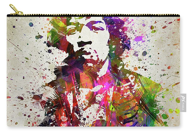 Jimi Hendrix Carry-all Pouch featuring the digital art Jimi Hendrix In Color by Aged Pixel