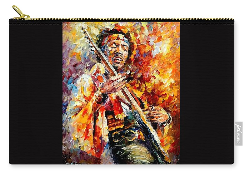 Music Carry-all Pouch featuring the painting Jimi Hendrix by Leonid Afremov