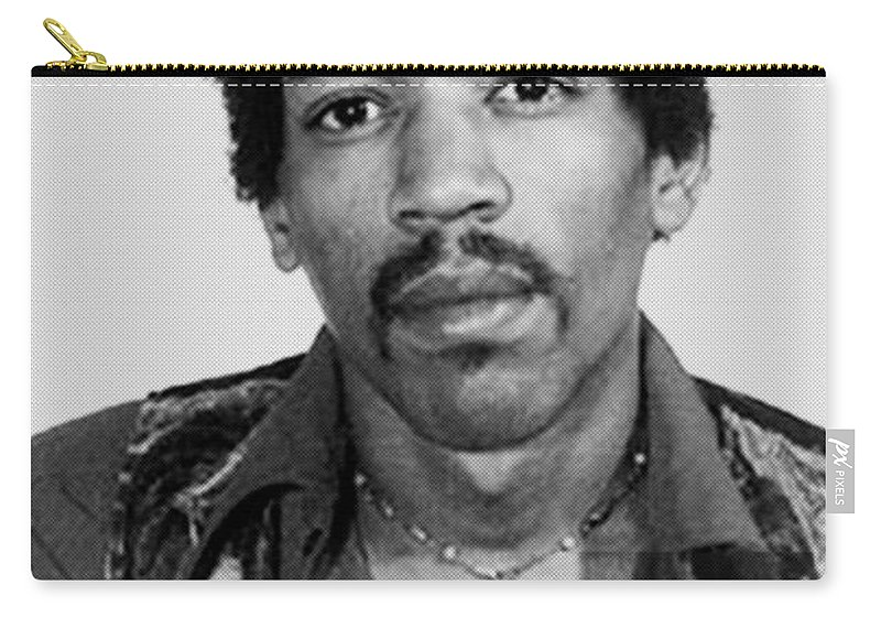 Jimi Hendrix Carry-all Pouch featuring the painting Jimi Hendrix Mug Shot Vertical by Tony Rubino