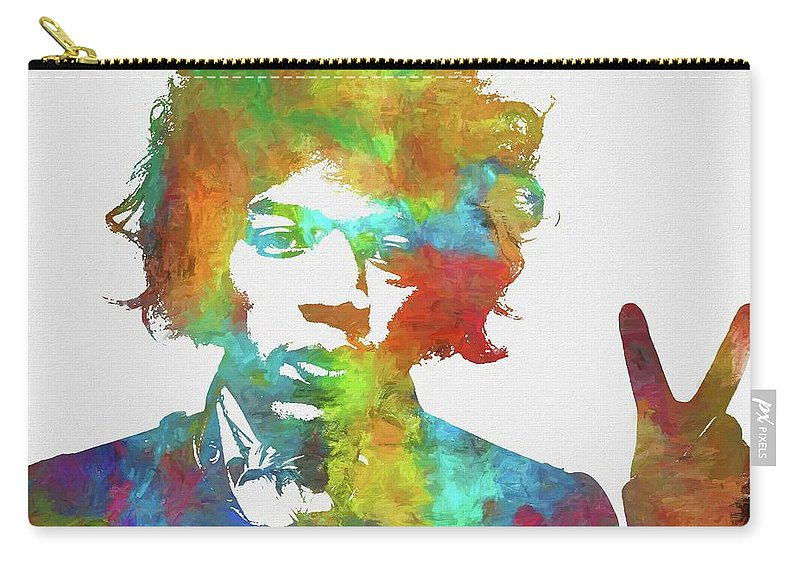 Jimi Carry-all Pouch featuring the painting Jimi Hendrix Peace by Dan Sproul