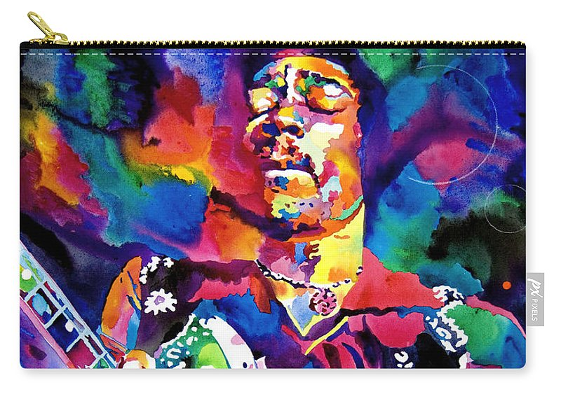 Jimi Hendrix Carry-all Pouch featuring the painting Jimi Hendrix Purple by David Lloyd Glover