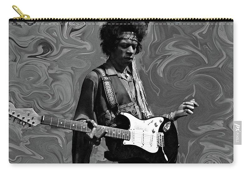 Jimi Hendrix Carry-all Pouch featuring the photograph Jimi Hendrix Purple Haze B W by David Dehner