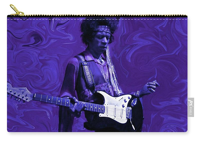 Jimi Hendrix Carry-all Pouch featuring the photograph Jimi Hendrix Purple Haze by David Dehner