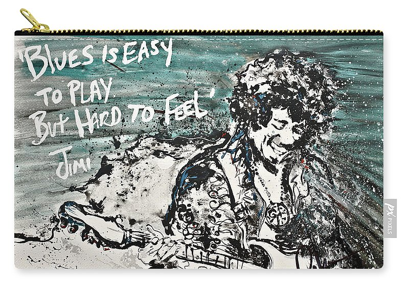 Blues Carry-all Pouch featuring the painting Jimi Hendrix by Reba Arts