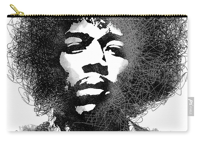 Jimi Hendrix Carry-all Pouch featuring the digital art Jimi Hendrix sketch pen portrait by Mihaela Pater