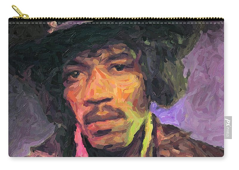 Jimi Hendrix Carry-all Pouch featuring the painting Jimi Hendrix by Zapista OU