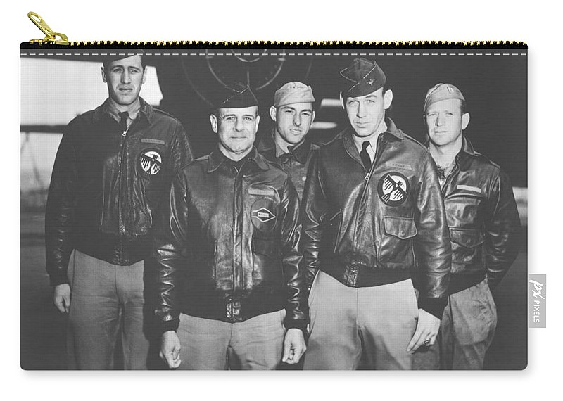 Doolittle Raid Carry-all Pouch featuring the photograph Jimmy Doolittle And His Crew by War Is Hell Store