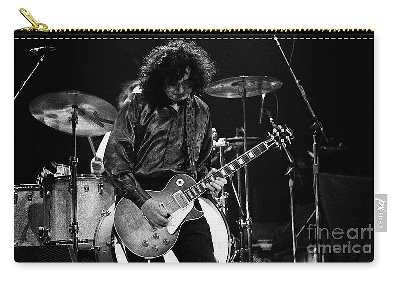 Robert Plant Carry-all Pouch featuring the photograph Jimmy Page-0047 by Timothy Bischoff