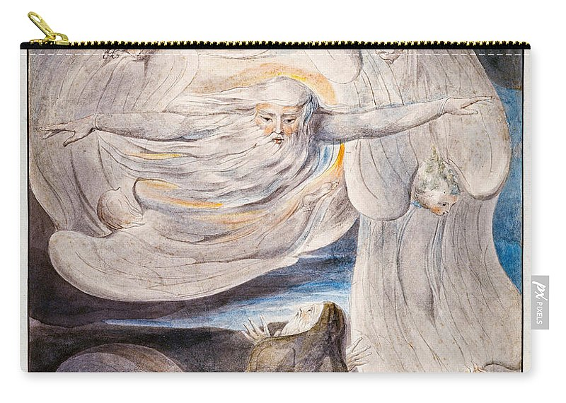 William Blake Carry-all Pouch featuring the painting Job Confessing His Presumption To God Who Answers From The Whirlwind by William Blake