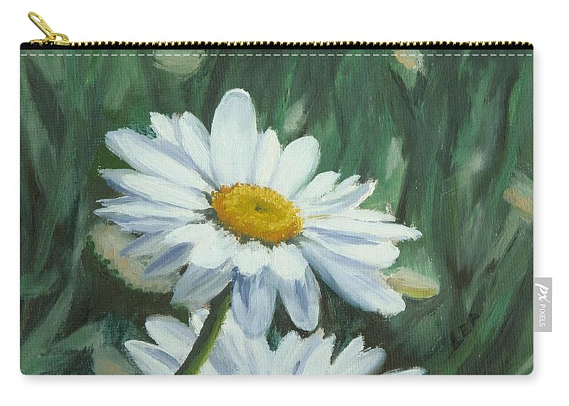 Daisy Carry-all Pouch featuring the painting Joe's Daisies by Lea Novak