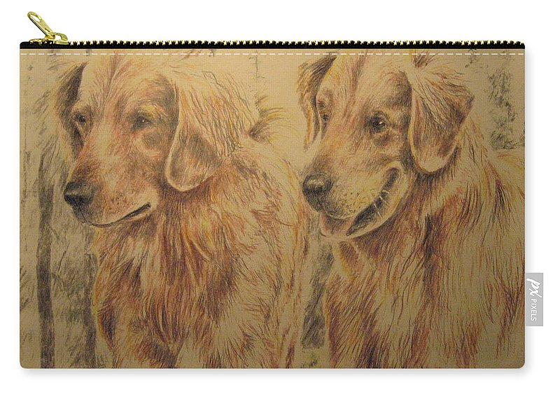 Dogs Carry-all Pouch featuring the drawing Joe's Dogs by Larry Whitler