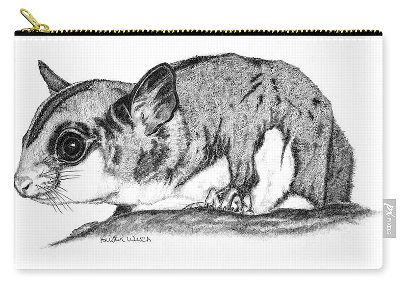 Sugar Glider Carry-all Pouch featuring the drawing Joey by Kristen Wesch
