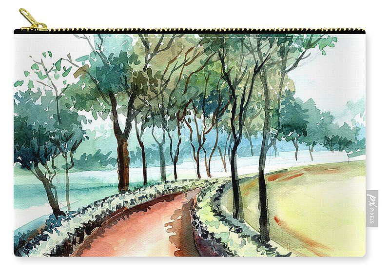 Landscape Carry-all Pouch featuring the painting Jogging track by Anil Nene