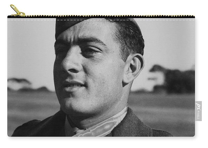 John Basilone Carry-all Pouch featuring the photograph John Basilone by War Is Hell Store