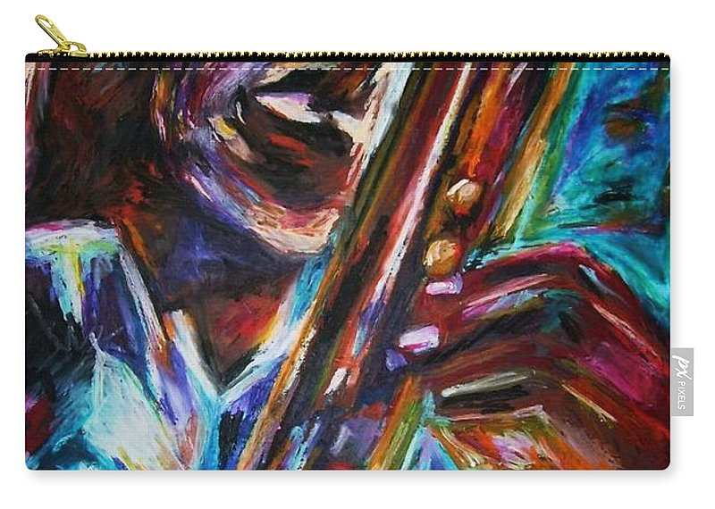 Jazz Carry-all Pouch featuring the painting John Coltrane by Frances Marino