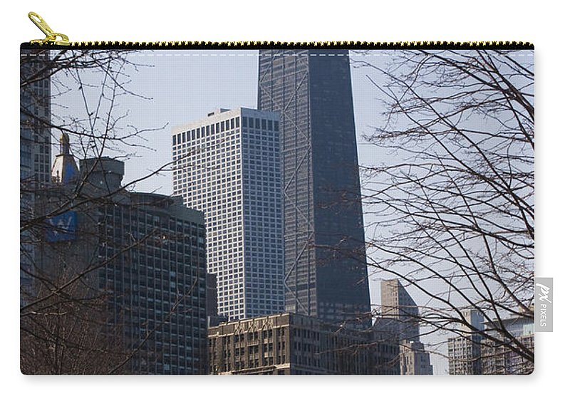 John Hancock Center Building Skyscraper Chicago Windy City Urban Metro Tall High Big Park Carry-all Pouch featuring the photograph John Hancock Center II by Andrei Shliakhau