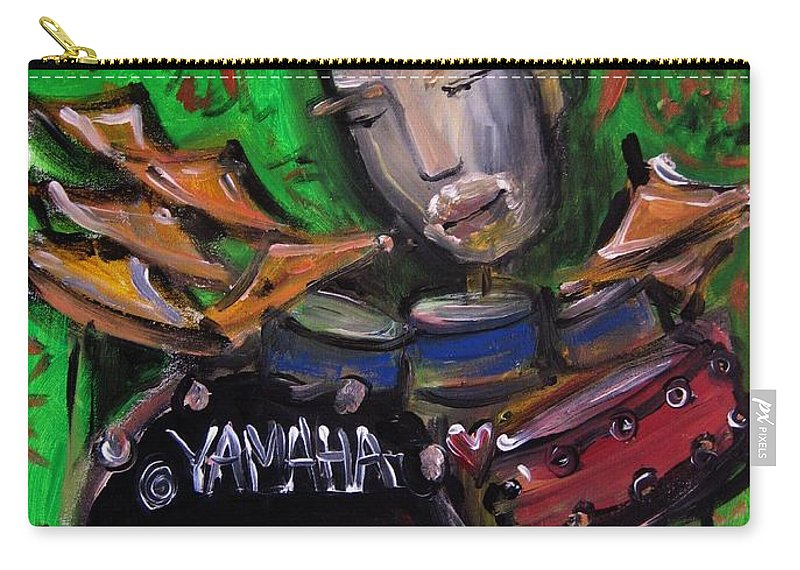 John Jr Robinson Carry-all Pouch featuring the painting John Jr Robinson Painted Live At Colorado Sound Studios by Laurie Maves ART