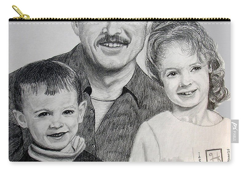 Portrait Carry-all Pouch featuring the drawing John Megan And Joey by Stan Hamilton